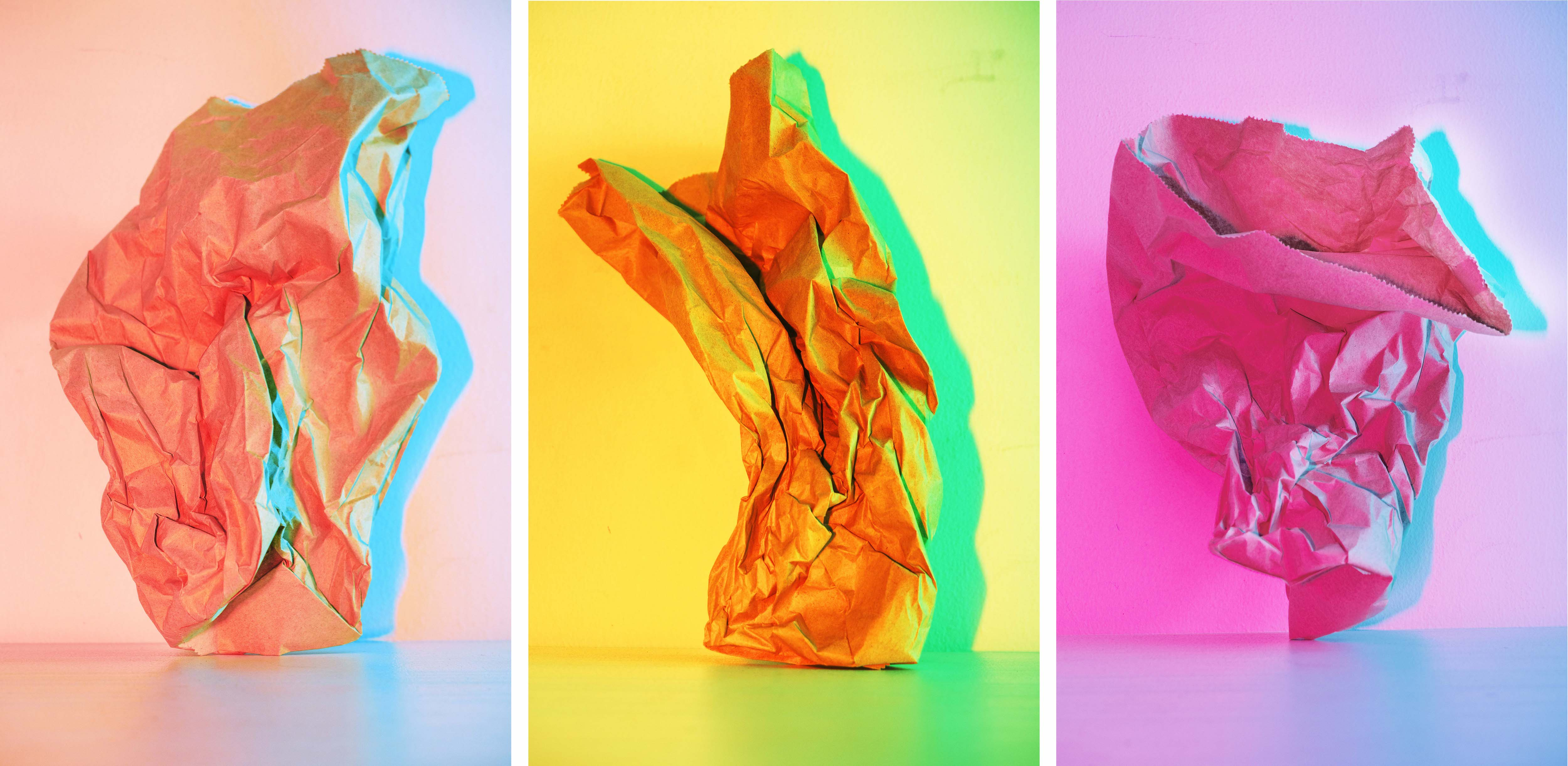 Paper Bag 1, 2, and 3 (Triptych)